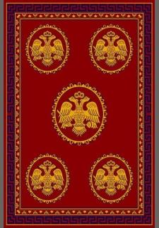 Κόκκινο χαλί με 5 βυζαντινούς αετούς